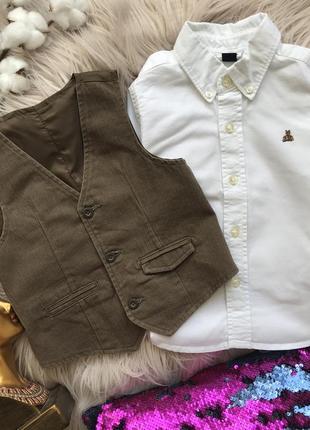 Набор 18-24 мес рубашка сорочка gap жилетка