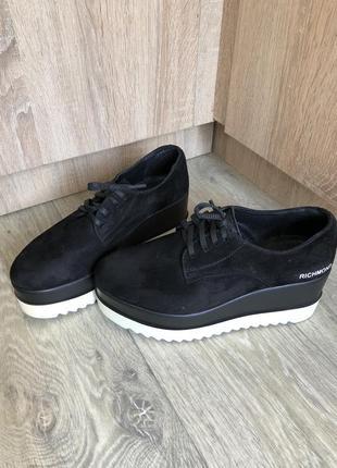 Туфли броги замшевые на платформе