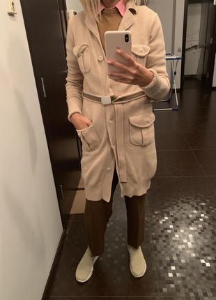 Женское вязаное пальто stefanel, оригинал, натуральная шерсть, размер s.