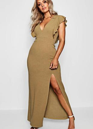 Новое красивое платье миди макси с рюшами вырез по ножке