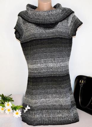 Брендовое серое теплое мини короткое платье туника с горловиной e-vie великобритания акрил