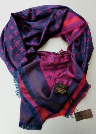 Louis vuitton шарф палантин кашемир / шелк розово синий