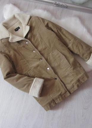 Бежевая шерпа вельветовая удлиненная куртка на меху осень весна деми