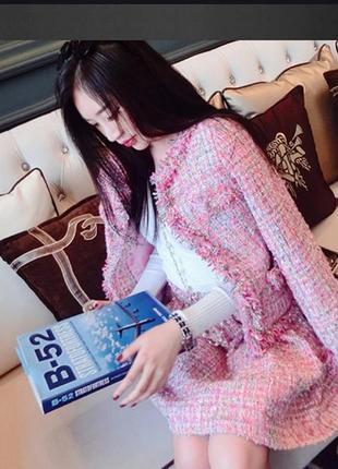 Брендовый розовый пиджак жакет блейзер с карманами papaya вьетнам акрил