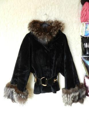 ✅ шубка пальто с опушкой натуральный мех  лиса чернобурка