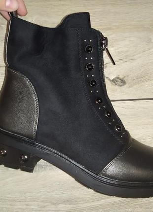 Женские ботинки деми осень устойчивый каблук жіночі полуботинки