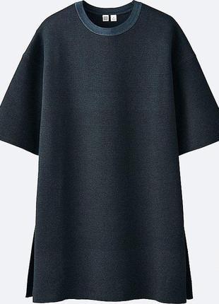Темно-синяя ребристая туника с круглым вырезом от к. лемара и uniqlo