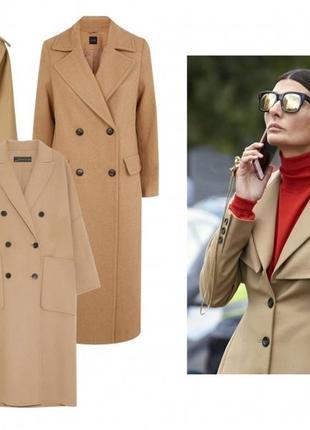 Двубортное трендовое пальто от marks & spenser, цвета шампань,  беж, шерсть, кашемир