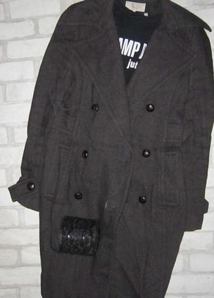 Шикарное удлиненное пальто-тренчкот, шерсть, цвета шоколад