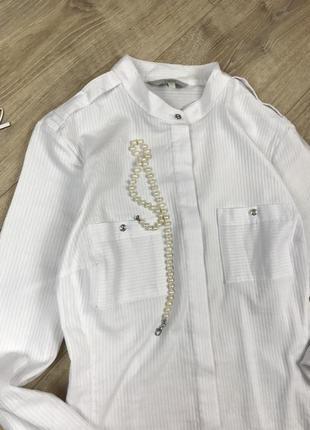 Идеальная белая базовая рубашка с интересной спинкой от next 💔3 фото