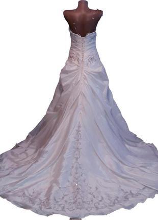 Дизайнерське весільне плаття зі шлейфом ronald joyce uk 46/48р
