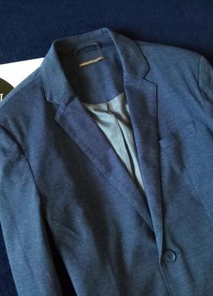 Лляной пиджак с налокотниками ф. house, размер м-l2 фото
