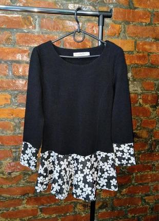 Джемпер блуза кофточка с контрастной отделкой по низу