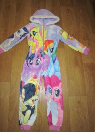 Меховой комбинезон, домашний костюм, слип, ромпер little pony на 6-7 лет