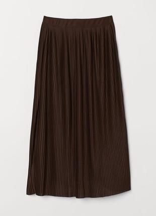 🌿 шоколадная, плиссированная юбка от h&m топ в подарок