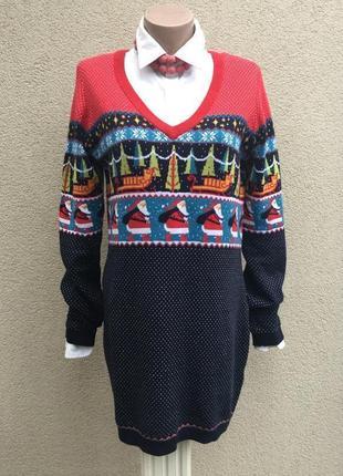 Красивая,рождественская,трикотаж кофта,джемпер,свитер,туника-пуловер,хлопок100%