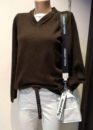 Стильный брэндовый теплый пуловер джемпер свитер коричневый