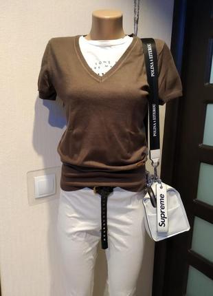 Стильный брэндовый крутой пуловер джемпер свитер кофта коричневый2 фото