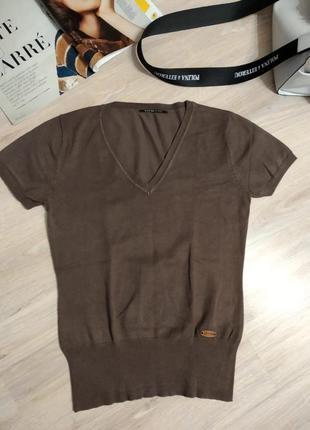Стильный брэндовый крутой пуловер джемпер свитер кофта коричневый6 фото
