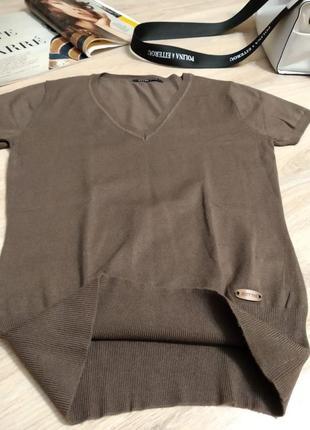 Стильный брэндовый крутой пуловер джемпер свитер кофта коричневый7 фото