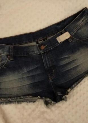 Джинсовые шорты с потертостями необработанные края 18/52-54 размера