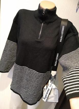 Крутая стильная брэндовая водолазка джемпер свитер пуловер из натуральной шерсти