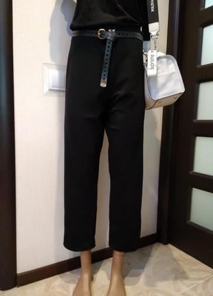Классические черные укороченные брюки штаны спортивные трикотаж
