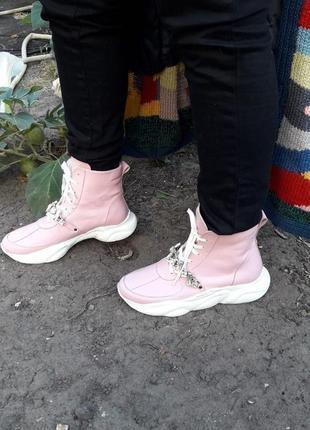 Эксклюзив кожаные высокие кроссовки ботинки криперы с камнями
