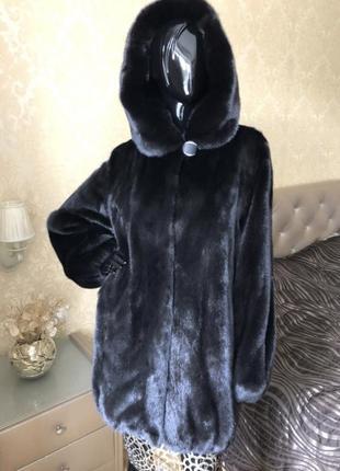 Норковая шуба с капюшоном finezza furs, греция, баллон 85 см, 48-50