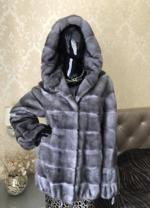 Норковая шуба с капюшоном, автоледи, 75 см, 46-48, ирис, поперечка1 фото
