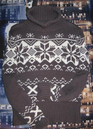 Трикотажный зимний свитер с норвежским принтом