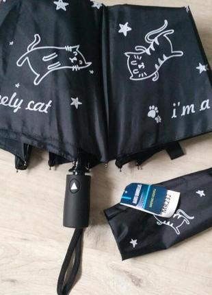 Забавный молодежный черный зонт-полуавтомат с котиками