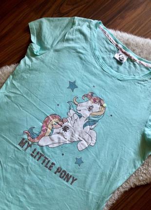 Крутая домашняя котоновая футболка мятного цвета с единорогом
