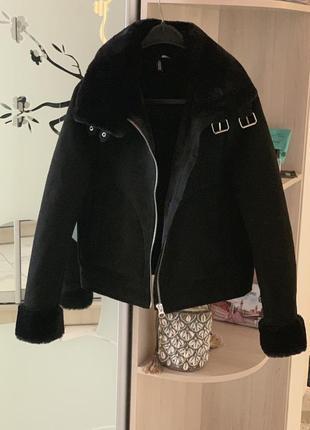 Дубленка авиатор куртка байкер hm