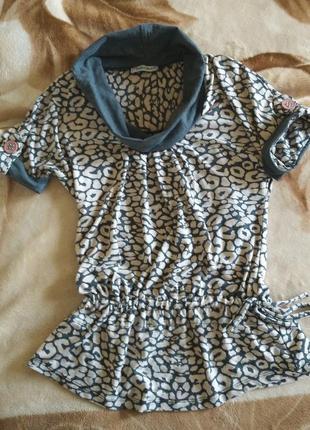 Кофта блуза туника футболка серая трикотажная s-m леопардовый животный звериный принт