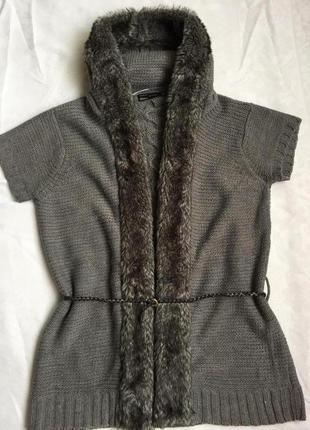 Отличная кофта с мехом жилетка zara раз l (48)