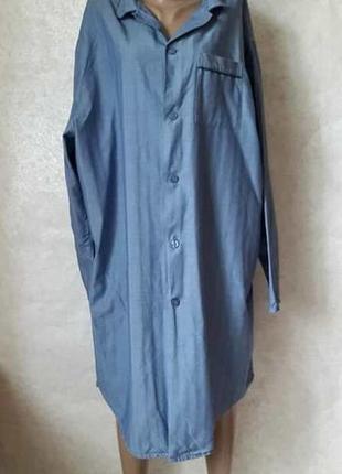 Фирменное marks & spenser просторное платье-рубашка со 100% хлопка в синем, размер 6хл
