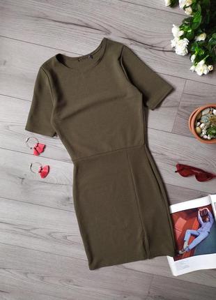 Плаття / платье / сукня / міні / з вирізом / хаки / мини