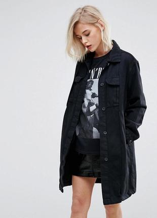 Джинсовая удлиненная куртка оверсайз джинсовка пальто zara pull&bear s