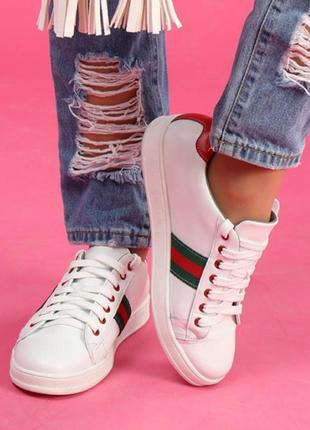 Скидка! кожаные женские кроссовки кеды с цветными вставками черные, белые натуральная кожа