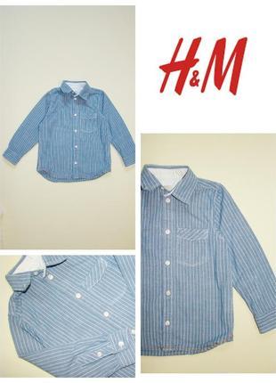 Джинсовая рубашка h&m  3-4 года 104 см