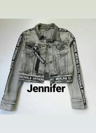 ✅крутейшая укороченная джинсовка с лампасами jennyfer