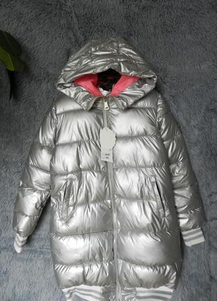 ✅ куртка дутая матовое серебро с  мехом на капюшоне3 фото