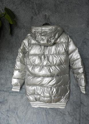 ✅ куртка дутая матовое серебро с  мехом на капюшоне4 фото