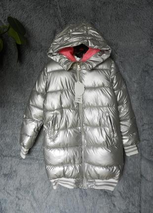 ✅ куртка дутая матовое серебро с  мехом на капюшоне5 фото