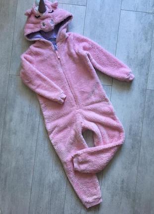 Тёплая пижама кигуруми единорог единорожек домашний костюм 5-6 лет