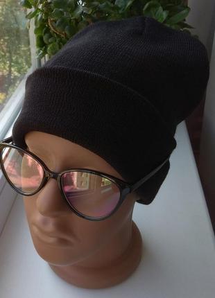 Новая стильная шапка бини, черная