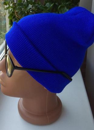 Новая стильная шапка бини, синяя2 фото