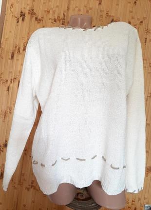 Джемпер белый шерстяной кофта  свитер с шерстью