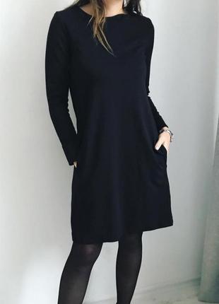 Чёрное трикотажное платье f&f